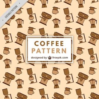 Flache muster mit kaffeemaschinen