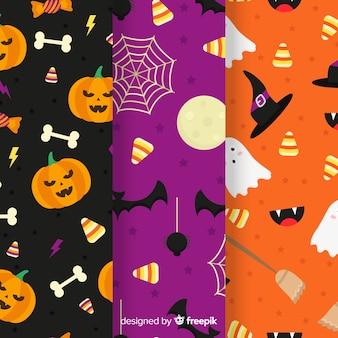 Flache mustersammlung mit halloween-dekor