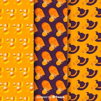 Flache mustersammlung mit halloween-zubehör