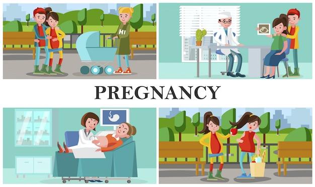 Flache mutterschafts- und schwangerschaftskomposition mit schwangeren frauen führen einen gesunden lebensstil und besuchen das krankenhaus zur medizinischen kontrolle