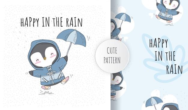 Flache nahtlose muster niedliche pinguine mit regenschirm im regen