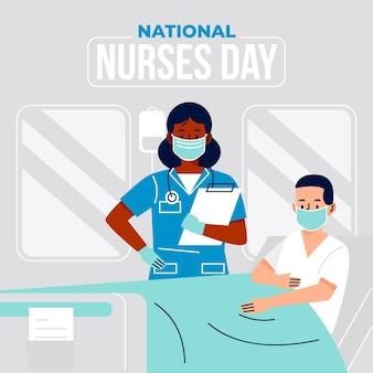 Flache nationale krankenschwestern-tagesillustration