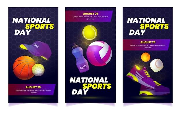 Flache nationale sporttagesbanner eingestellt