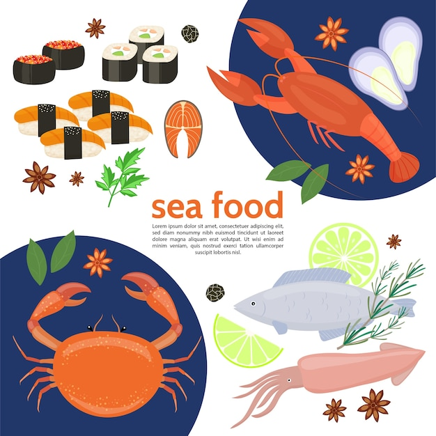Flache natürliche meeresfrüchteschablone mit krabbenhummer-tintenfischfisch-sushi-rollenkräuterkalkkaviar isolierte vektorillustration