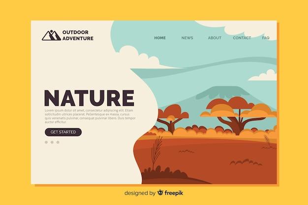 Flache natur landing page vorlage