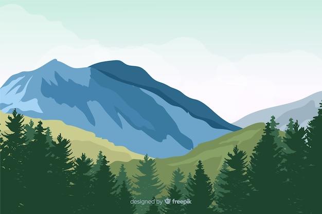 Flache naturlandschaft mit bäumen