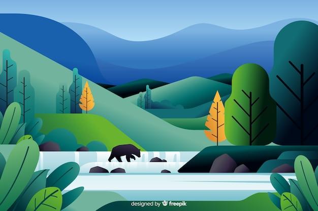 Flache naturlandschaft mit vegetation
