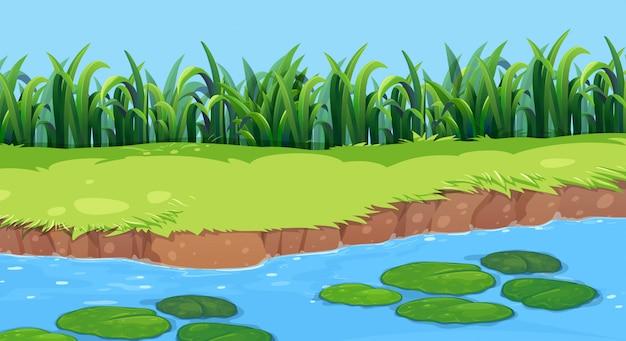Flache naturteichlandschaft