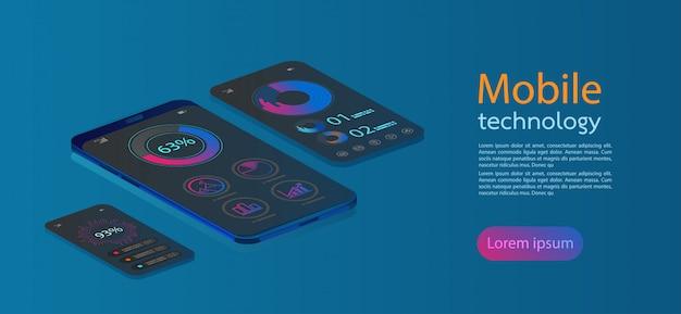 Flache netzikonen für bewegliche apps, isometrisches flaches design 3d.