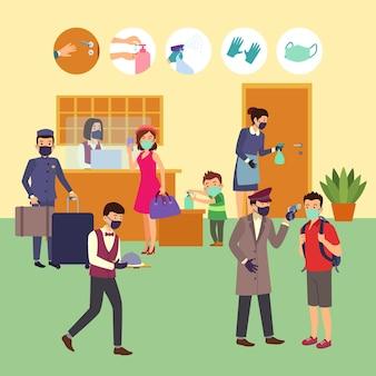 Flache neue normalität in hotels mit menschen