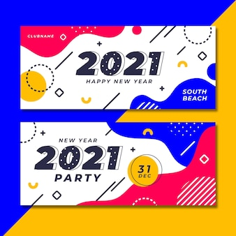 Flache neujahr 2021 party banner