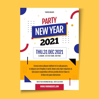 Flache neujahr 2021 party flyer vorlage