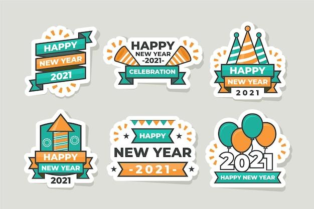 Flache neujahrs-etikettensammlung 2021