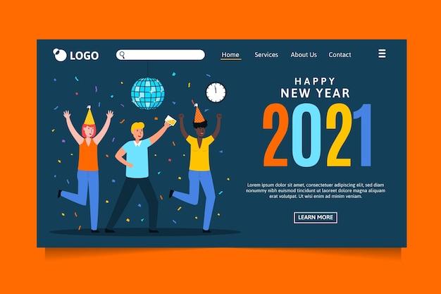 Flache neujahrs-landingpage