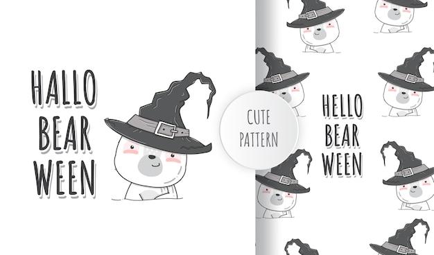 Flache niedliche bärenglück halloween-illustrationsmustersatz