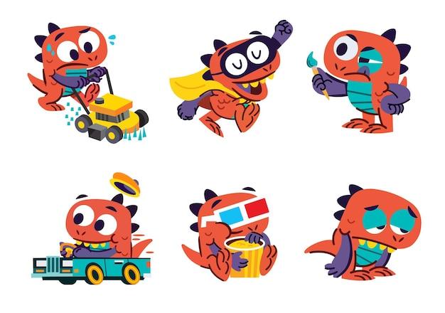 Flache niedliche kleine kawaii cartoon character pack