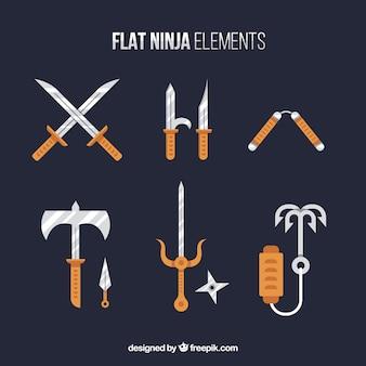 Flache ninja elementsammlung