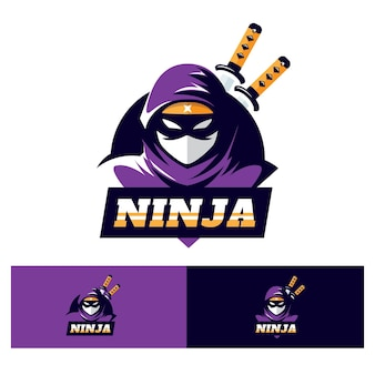 Flache ninja-logo-vorlage