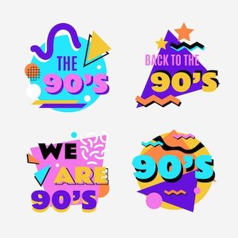 Flache nostalgische 90er abzeichenkollektion