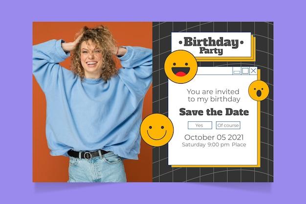 Flache nostalgische 90er geburtstagseinladungsvorlage