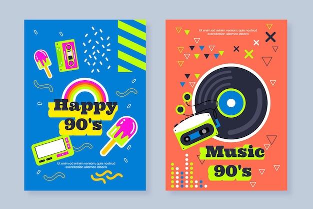 Flache nostalgische 90er jahre coverkollektion