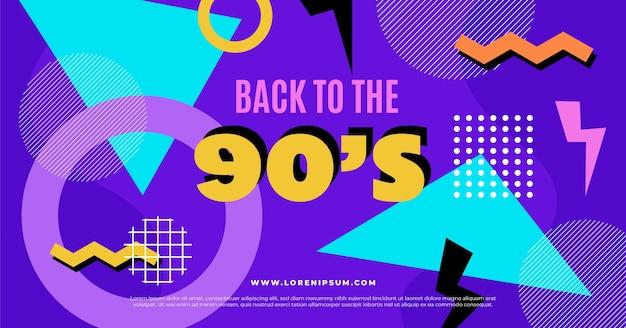 Flache nostalgische 90er jahre social media post vorlage