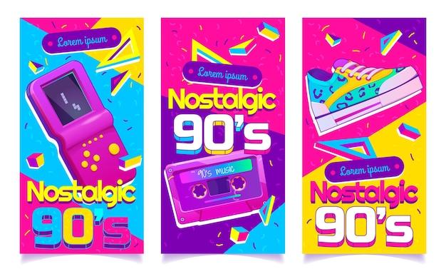 Flache nostalgische banner der 90er jahre