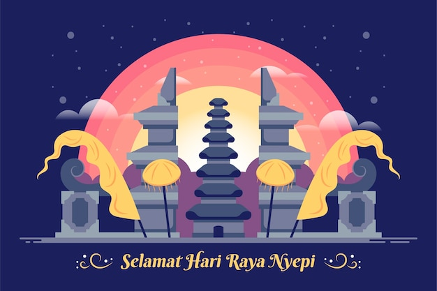 Flache nyepi-illustration