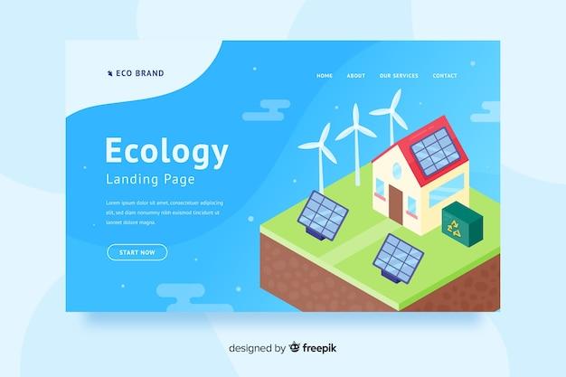 Flache ökologie-landingpage-vorlage