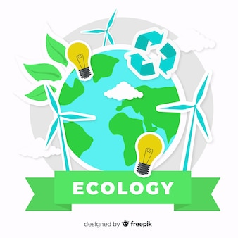 Flache ökologiekonzept-aufklebersammlung