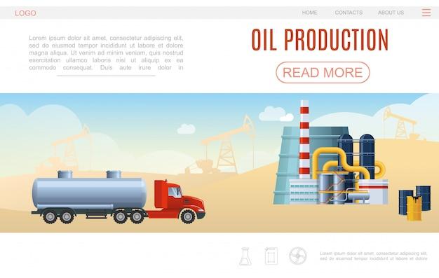 Flache ölindustrie webseitenvorlage mit tankwagen petrochemischen anlagenfässern bohrinseln silhouetten