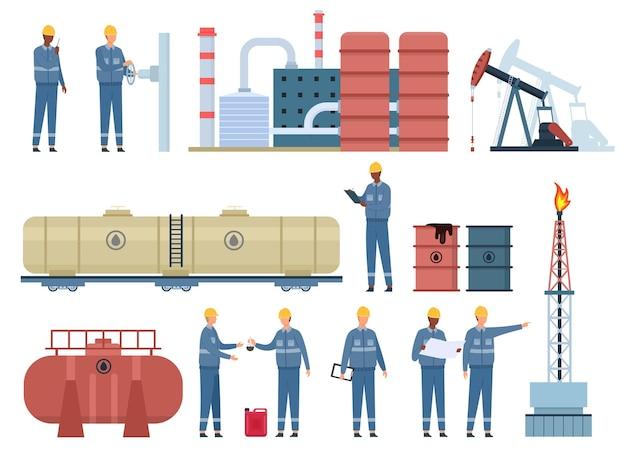 Flache ölingenieurarbeiter und gebäude der gasindustrie. erdölbohrinsel, raffinerie, kraftstofftanks und fässer. vektorset für die inspektion von ölpipelines