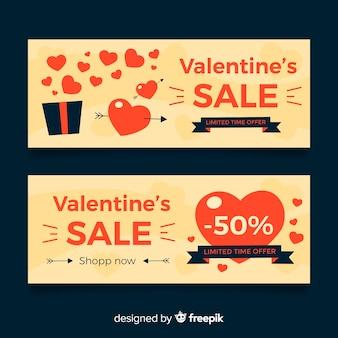 Flache offene geschenk valentinstag verkauf banner