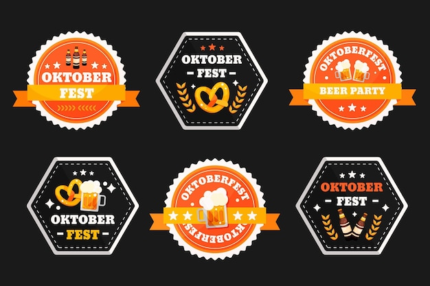 Flache oktoberfest-etikettenkollektion