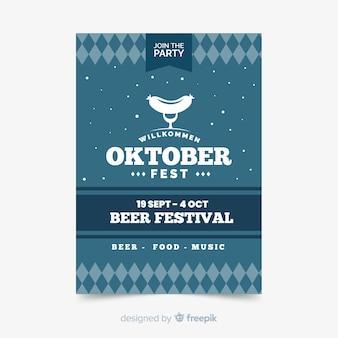 Flache oktoberfest flyer vorlage