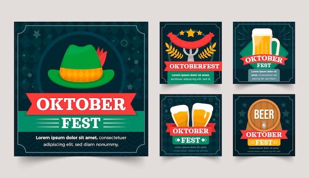 Flache oktoberfest instagram posts sammlung