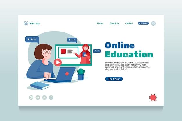 Flache online-landingpage für bildung