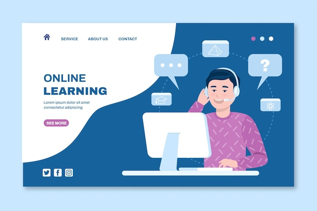 Flache online-lern-landingpage-vorlage