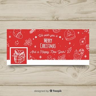 Flache ornamente weihnachten facebook cover