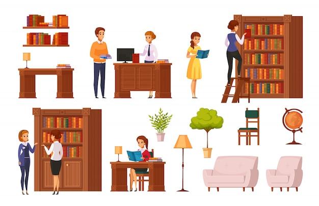 Flache orthogonale elementsammlung der öffentlichen bibliothek mit bücherregalbibliothekerschreibtischlesesaal-zubehörbesuchern