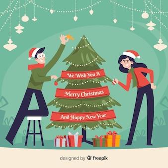 Flache Paar Weihnachten Hintergrund
