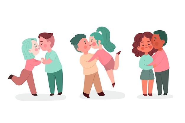 Flache paare, die illustration küssen