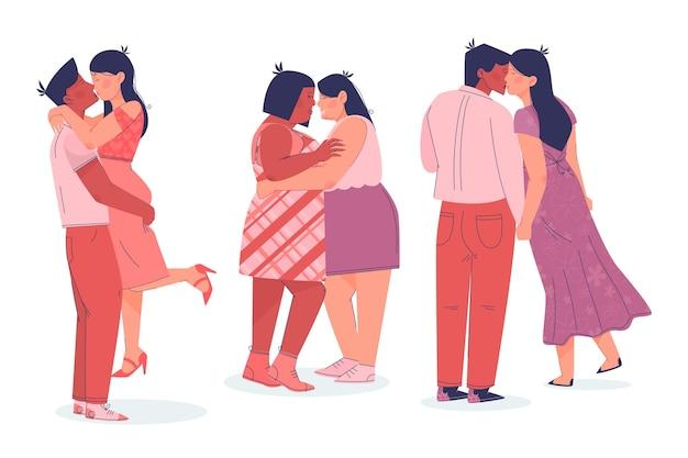 Flache paare, die sammlung küssen
