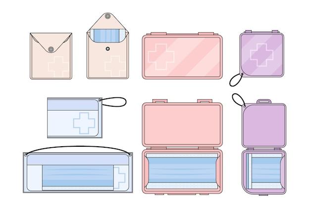Flache packung mit aufbewahrungskoffern für gesichtsmasken