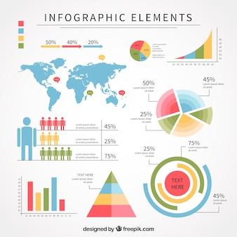Flache packung mit großen infografischen elementen