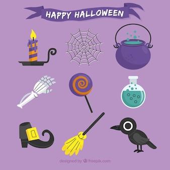 Flache packung mit originalen halloween-elementen