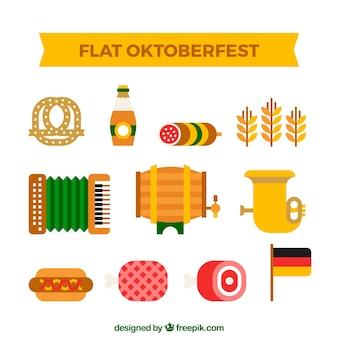 Flache packung von oktoberfest elementen
