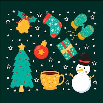 Flache packung von weihnachtselementen