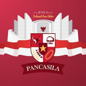 Flache pancasila-tagesillustration