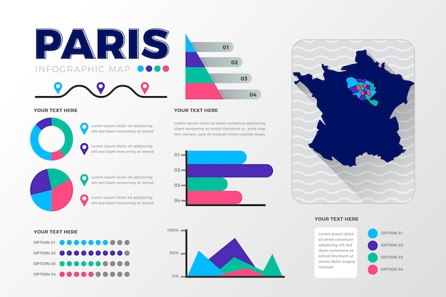 Flache paris karte infografiken